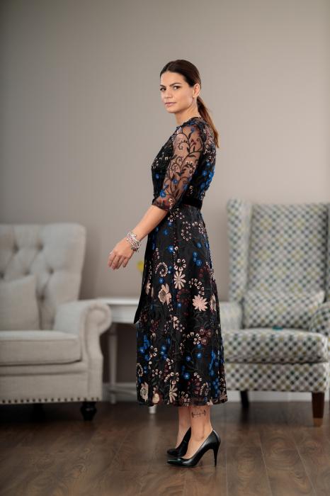 Rochie maxi eleganta, din dantela brodata cu motive florale, Alberta [3]
