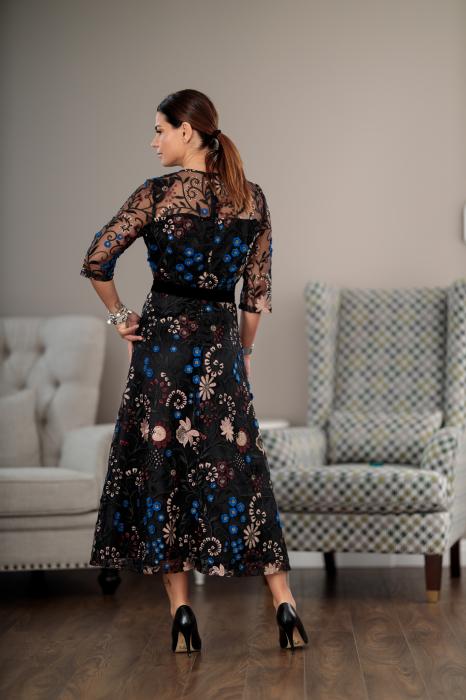 Rochie maxi eleganta, din dantela brodata cu motive florale, Alberta [1]