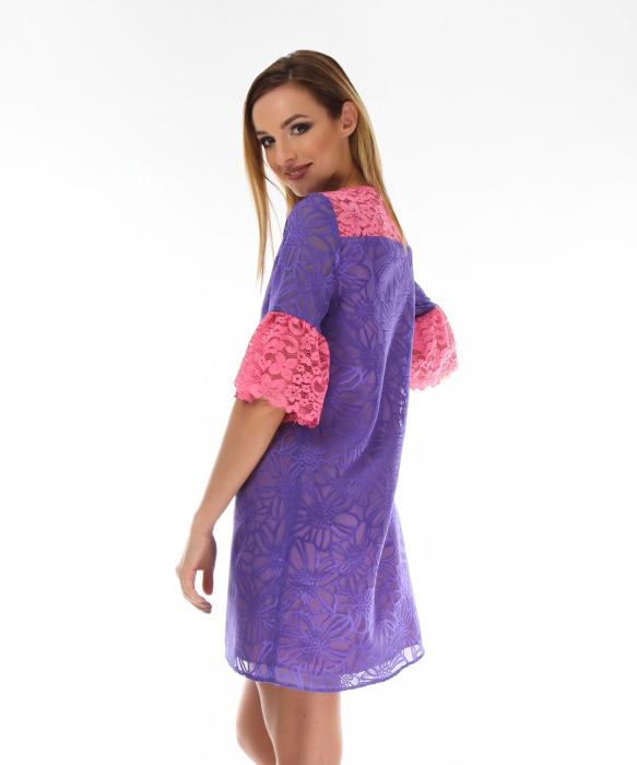 Rochie eleganta violet cu model floral 1