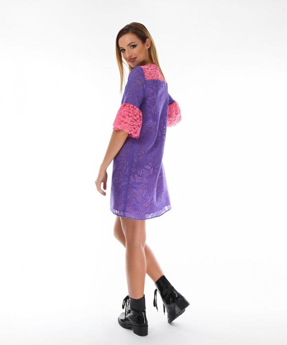 Rochie eleganta violet cu model floral 2