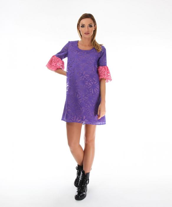 Rochie eleganta violet cu model floral 0