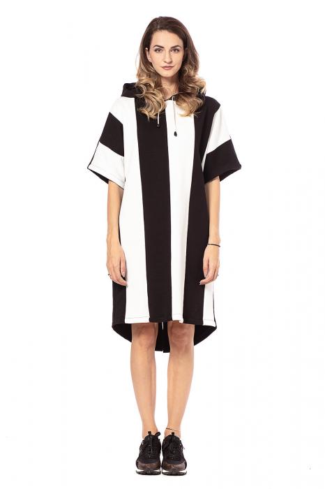 Rochie hanorac cu maneci scurte, in doua culori, alb si negru [2]