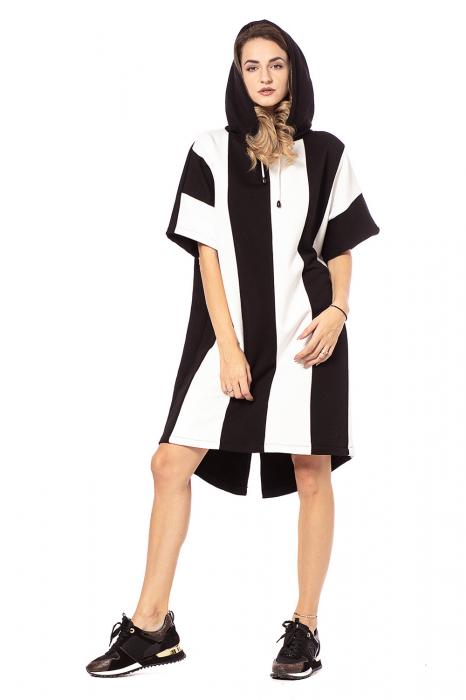 Rochie hanorac cu maneci scurte, in doua culori, alb si negru [0]