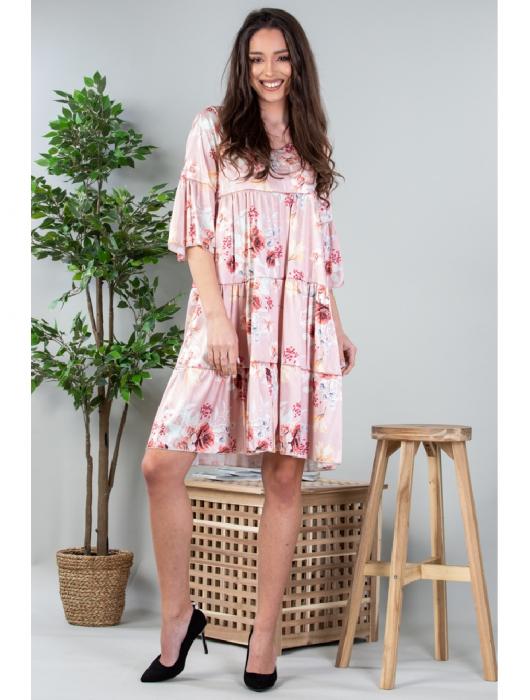 Rochie lejera cu imprimeu floral Roz Yvesse [0]