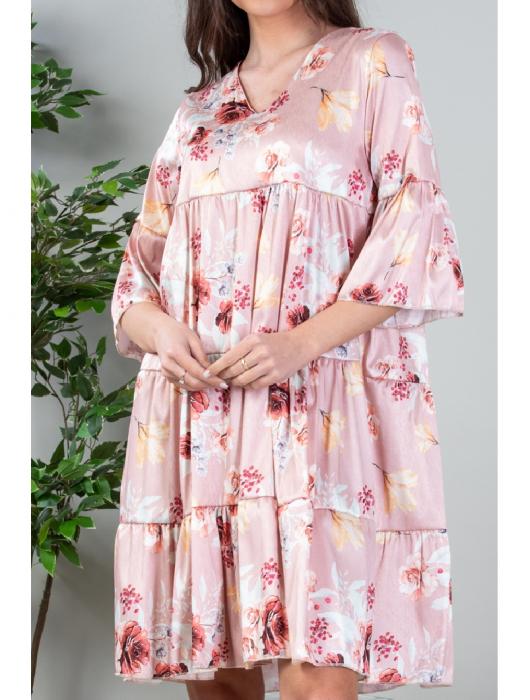 Rochie lejera cu imprimeu floral Roz Yvesse [1]