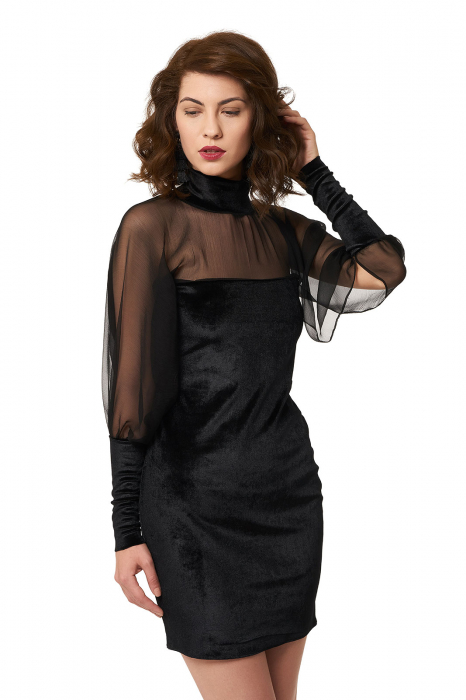 Rochie neagra din catifea cu maneci din voal de matase 1