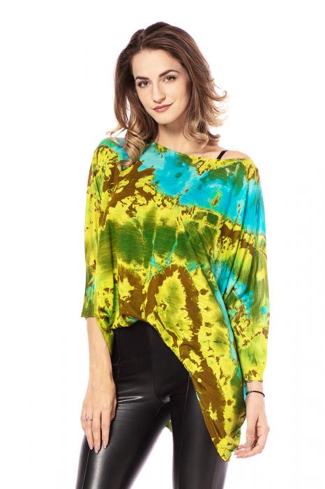 Bluza lejera multicolora cu maneci trei sferturi tye die [1]