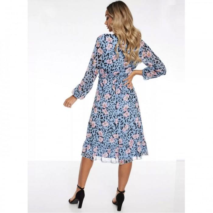 Rochie midi bleu cu model floral si maneci lungi 2
