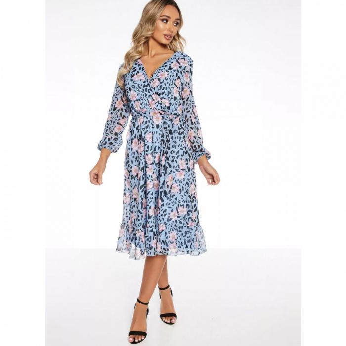 Rochie midi bleu cu model floral si maneci lungi 0