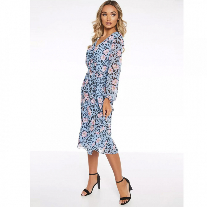 Rochie midi bleu cu model floral si maneci lungi 1