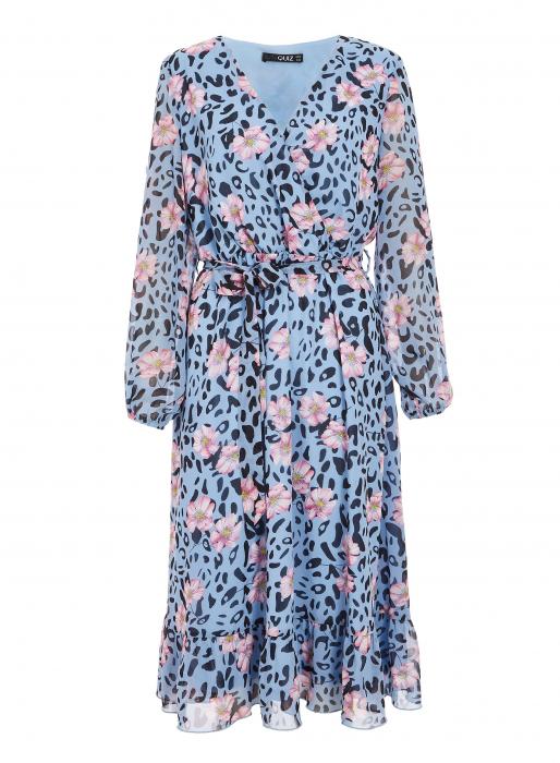 Rochie midi bleu cu model floral si maneci lungi 3