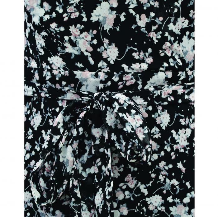 Rochie midi din voal cu flori mici negru cu alb [4]