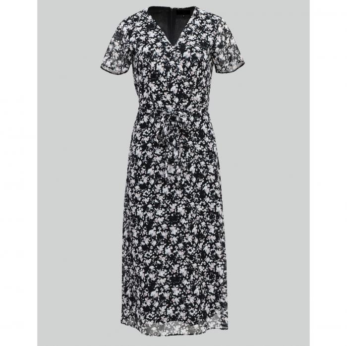 Rochie midi din voal cu flori mici negru cu alb [3]