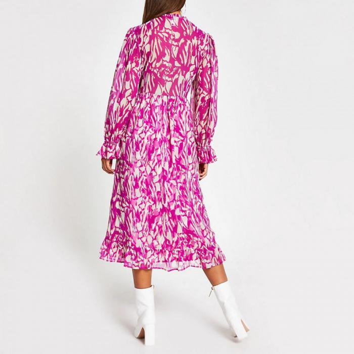 Rochie midi roz cu maneci lungi si decolteu in V 2