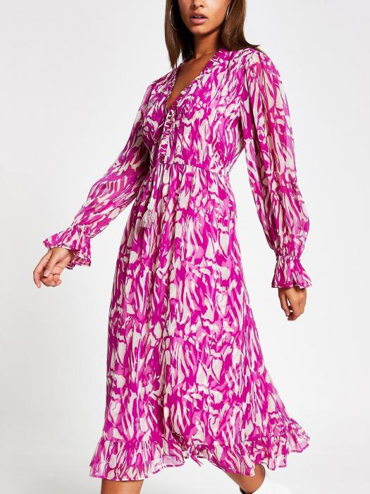Rochie midi roz cu maneci lungi si decolteu in V 1