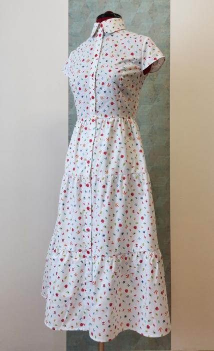 Rochie midi tip camasa, cu maneca scurta, alba cu floricele [2]
