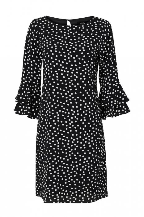 Rochie neagra cu buline mici albe si maneci trei sferturi 4