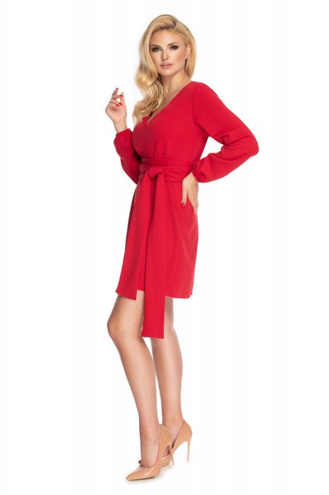 Rochie rosie cu maneci lungi si cordon lung 2