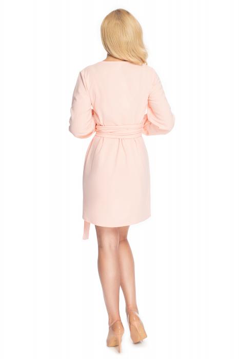 Rochie roz pudra cu maneci lungi si cordon lung 3
