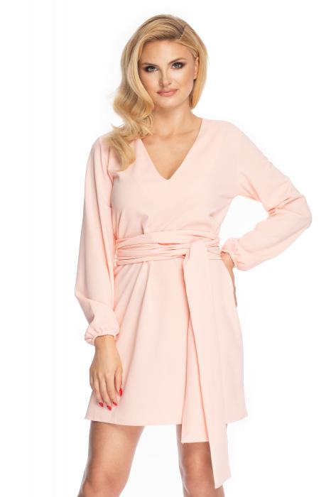 Rochie roz pudra cu maneci lungi si cordon lung 0