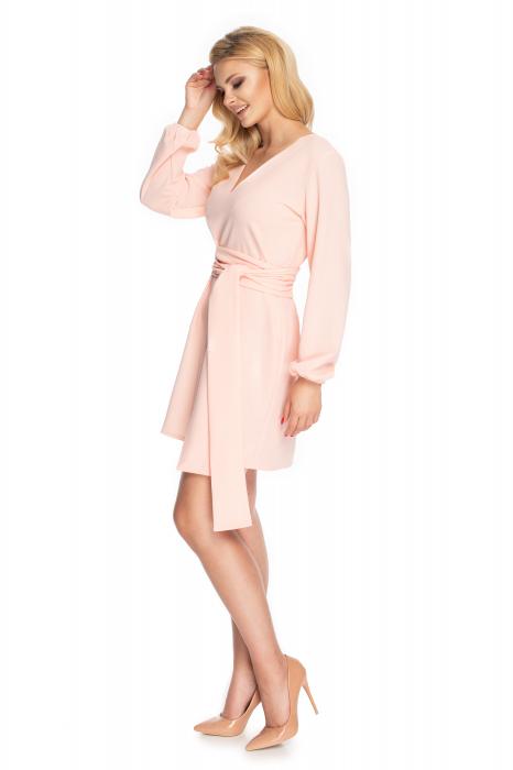 Rochie roz pudra cu maneci lungi si cordon lung 2