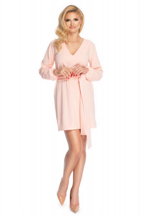 Rochie roz pudra cu maneci lungi si cordon lung 1