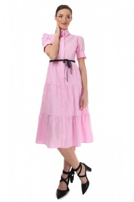 Rochie midi roz tip camasa, cu maneca scurta [0]