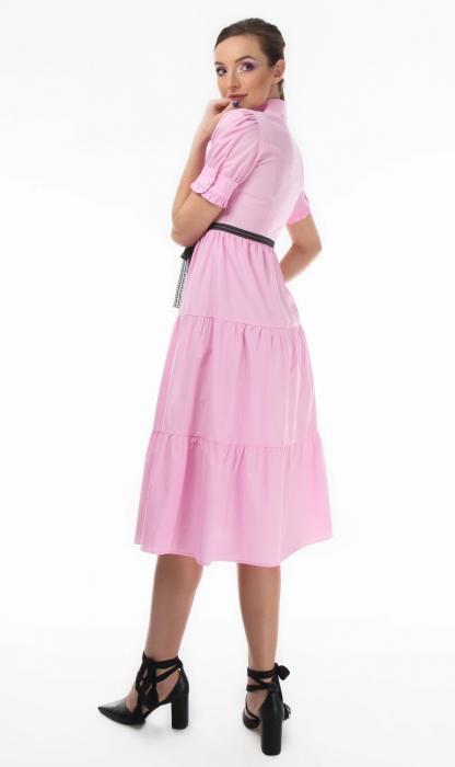 Rochie midi roz tip camasa, cu maneca scurta [1]