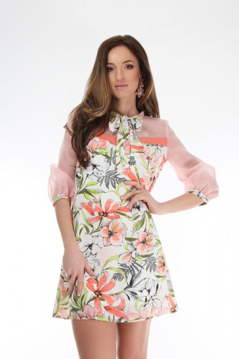 Rochie scurta cu imprimeu floral si guler cu funda 0