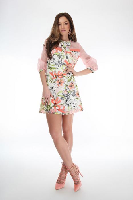 Rochie scurta cu imprimeu floral si guler cu funda 1