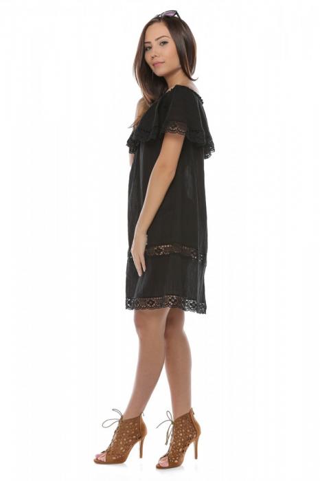 Rochie scurta neagra din panza topita Alba 2