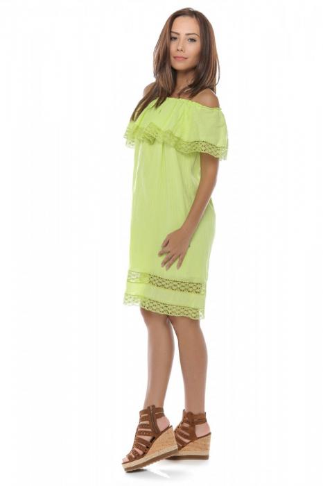 Rochie scurta verde din panza topita Alba 1