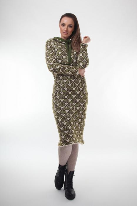 Rochie midi tricotata verde cu model frunze 1
