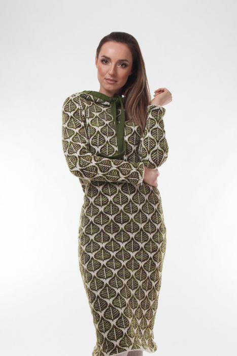 Rochie midi tricotata verde cu model frunze 0
