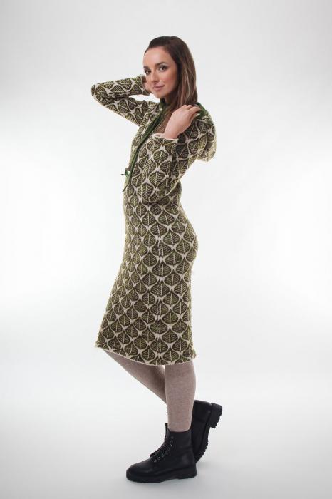Rochie midi tricotata verde cu model frunze 2