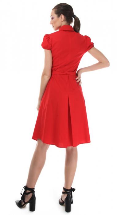 Rochie rosie tip camasa, cu maneca scurta [1]