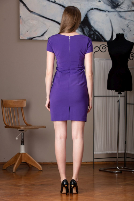 Rochie office dreapta mov Anabel 2
