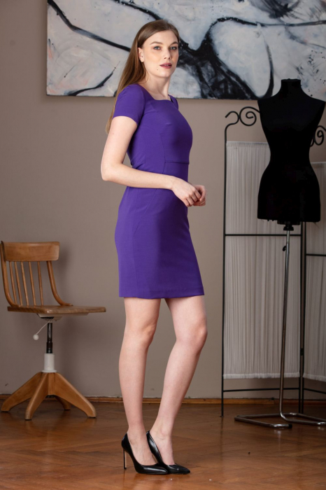 Rochie office dreapta mov Anabel 0
