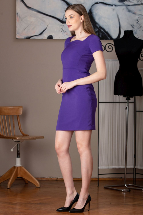 Rochie office dreapta mov Anabel 1