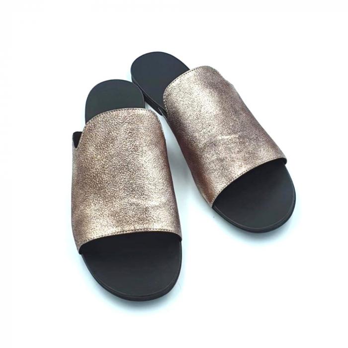 Papuci dama din piele naturala Araya Bronzo 2