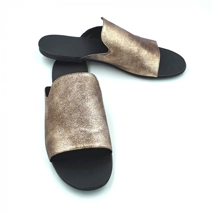 Papuci dama din piele naturala Araya Bronzo 1