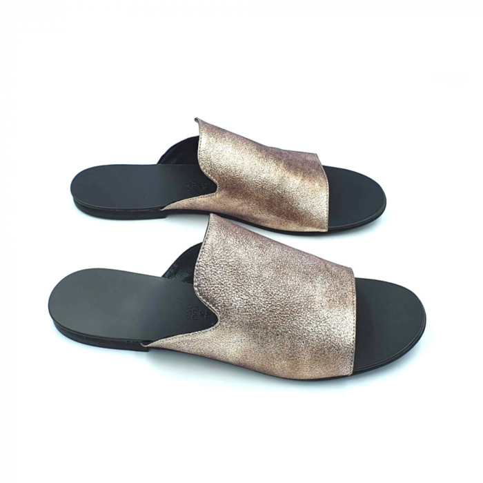 Papuci dama din piele naturala Araya Bronzo 0