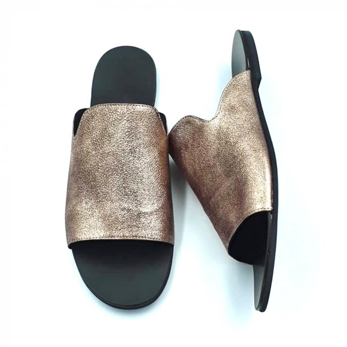 Papuci dama din piele naturala Araya Bronzo 3