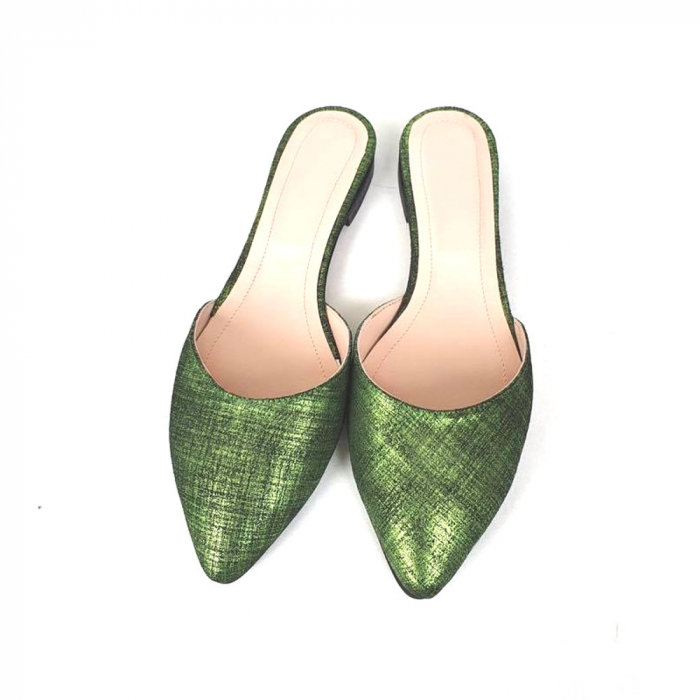 Saboti dama din piele naturala Calista Green Metal, 35 [0]