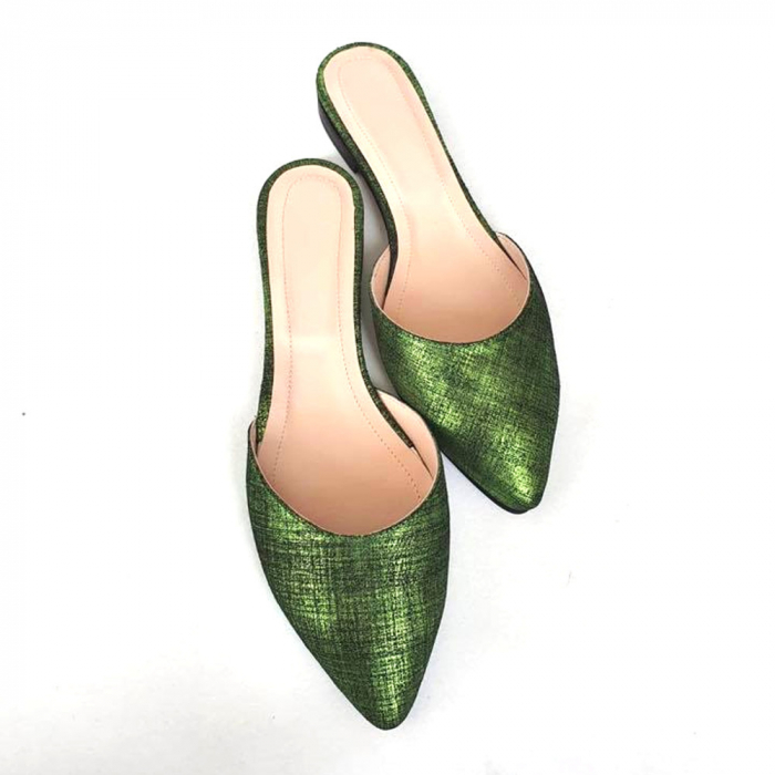 Saboti dama din piele naturala Calista Green Metal, 35 [2]