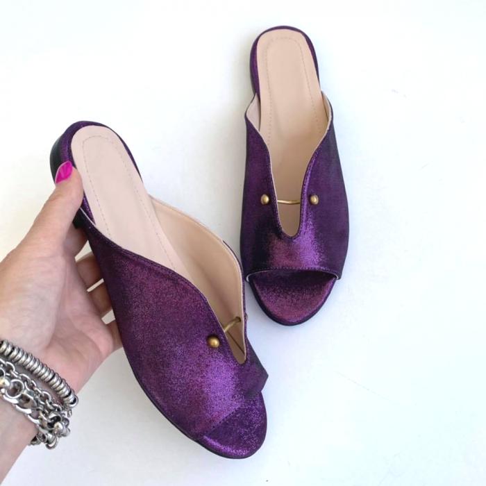 Saboti dama din piele naturala Dia Purple [5]