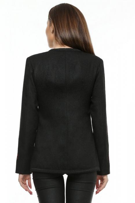 Sacou dama negru din stofa brodata SC04 2