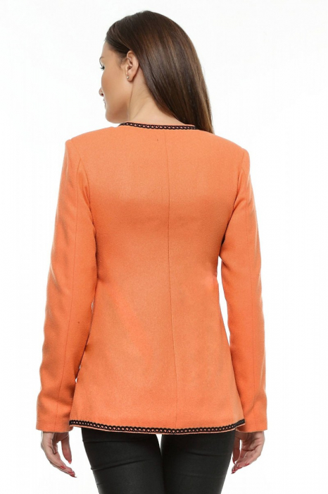 Sacou dama portocaliu din stofa brodata SC05 2