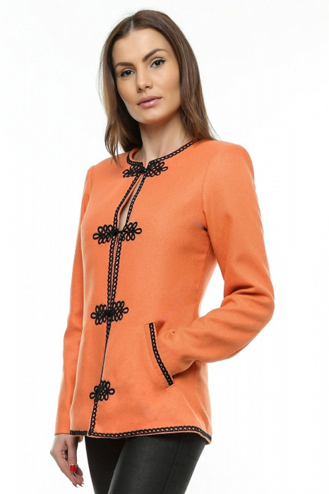 Sacou dama portocaliu din stofa brodata SC05, XL 1