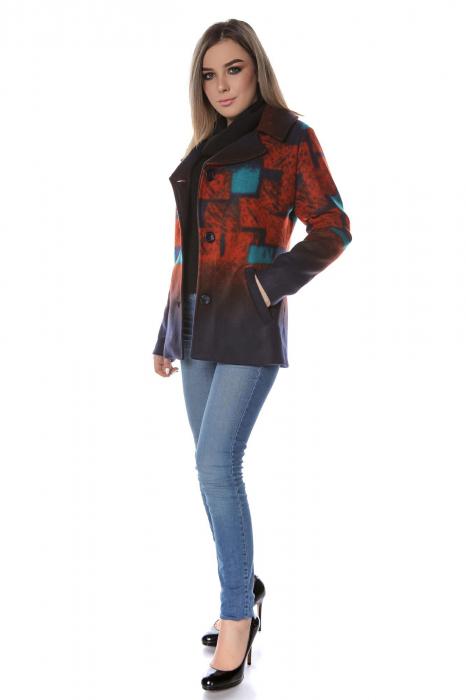 Sacou dama stofa cu motive geometrice orange SC20